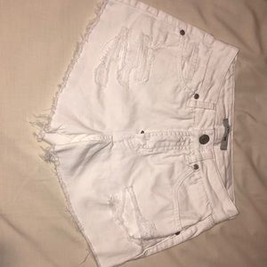 White Ripped Jean Shorts